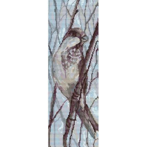 Kanwa z nadrukiem - Ptaszek na gałęzi