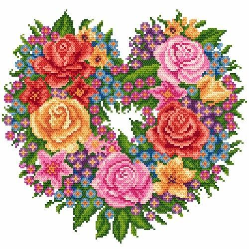 Kanwa z nadrukiem - Kwiatowe serce