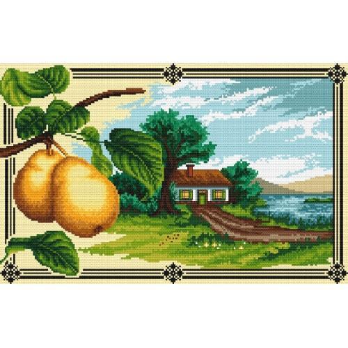 Kanwa z nadrukiem - Pejzaż z gruszkami