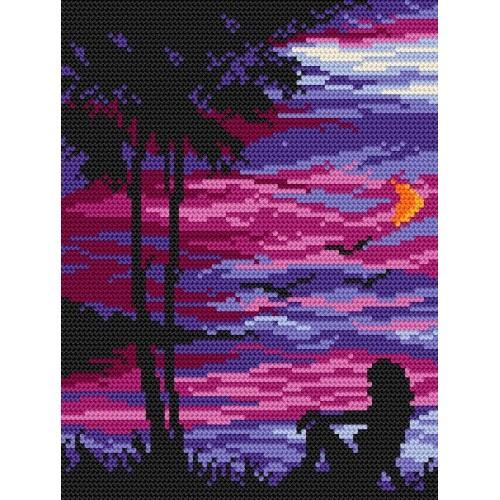 Kanwa z nadrukiem - Wieczór na plaży