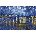 Kanwa z nadrukiem - Gwiaździsta noc nad Rodanem