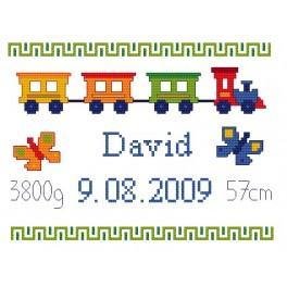 K 4427 Kanwa z nadrukiem - Moje narodziny- Kolorowy pociąg