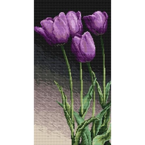 Kanwa z nadrukiem - Fioletowe tulipany