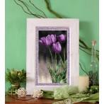 Kanwa z nadrukiem - B.Sikora-Malyjurek -Fioletowe tulipany