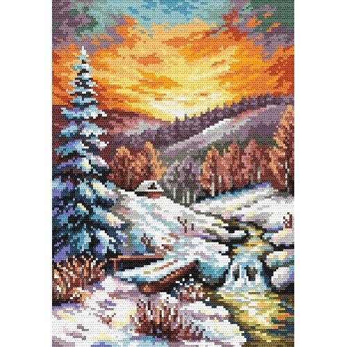 Kanwa z nadrukiem - S. Sikora - Blask zimowego wieczoru