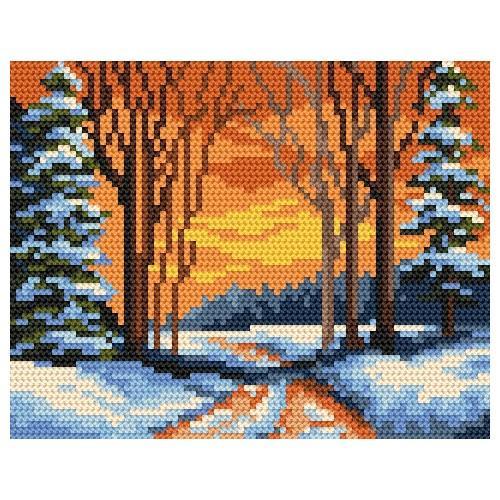 Kanwa z nadrukiem - Zimowa ścieżka