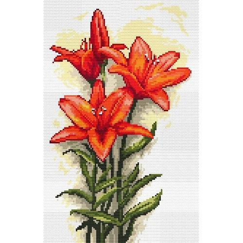 Kanwa z nadrukiem - Czerwone lilie - B.Sikora-Małyjurek