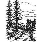 Kanwa z nadrukiem - B.Sikora-Malyjurek - Świerki