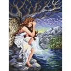 Kanwa z nadrukiem - Zadumany anioł - B.Sikora-Małyjurek