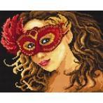 Kanwa z nadrukiem - B. Sikora-Malyjurek -Kobieta w masce