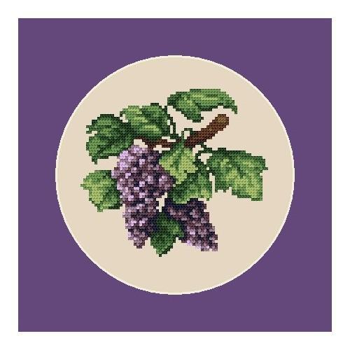 Kanwa z nadrukiem - Ciemne winogrona
