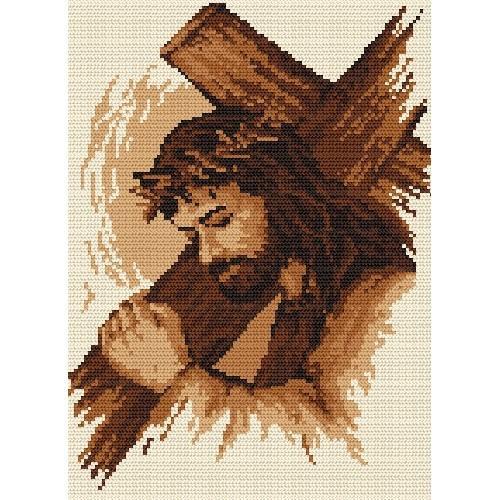 Kanwa z nadrukiem - Jezus z krzyżem