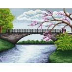 Kanwa z nadrukiem - Most z kwitnącym drzewem