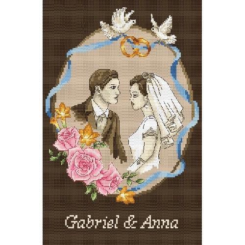 Kanwa z nadrukiem - Pamiątka Ślubu - Młoda Para