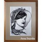 Kanwa z nadrukiem - Kobieta z perłami