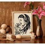 Kanwa z nadrukiem - Dziewczyna z liliami