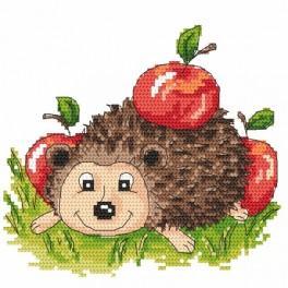 K 4884 Kanwa z nadrukiem - Jeżyk z jabłkami