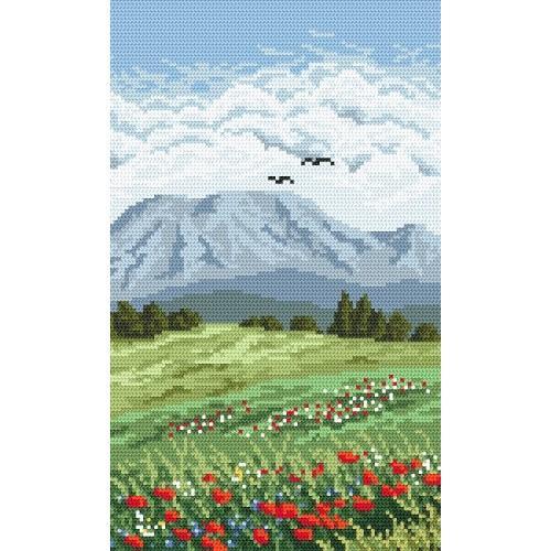 Kanwa z nadrukiem - Tryptyk - Kwiecista łąka
