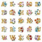 Kanwa z nadrukiem - Alfabet z kwiatami