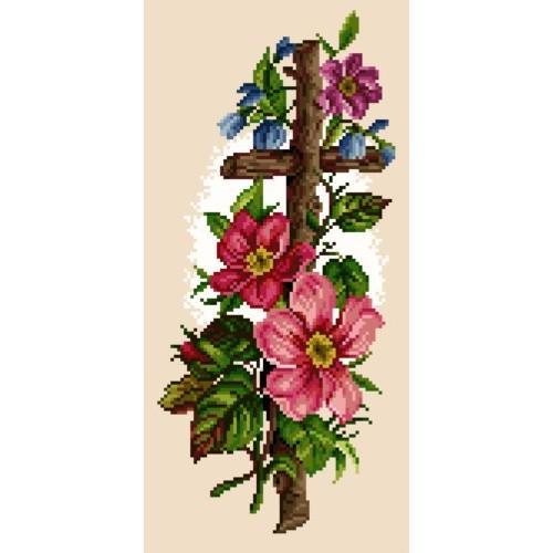 Kanwa z nadrukiem - Krzyż w kwiatach