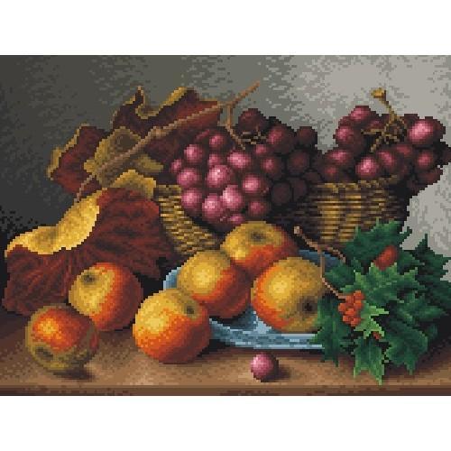 Kanwa z nadrukiem - Martwa natura- czerwone winogrona