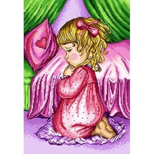 Kanwa z nadrukiem - Modlitwa dziewczynki