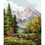 Kanwa z nadrukiem - Krajobraz górski