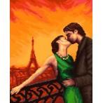 Kanwa z nadrukiem - Paryż - Zakochani