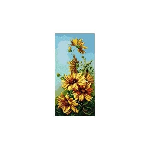 Kanwa z nadrukiem - Polne słoneczniki