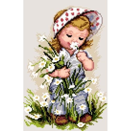 Kanwa z nadrukiem - Dziewczynka z kwiatami