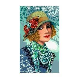 Kanwa z nadrukiem - Kobieta w kapeluszu