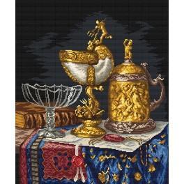 Kanwa z nadrukiem - Złote naczynia