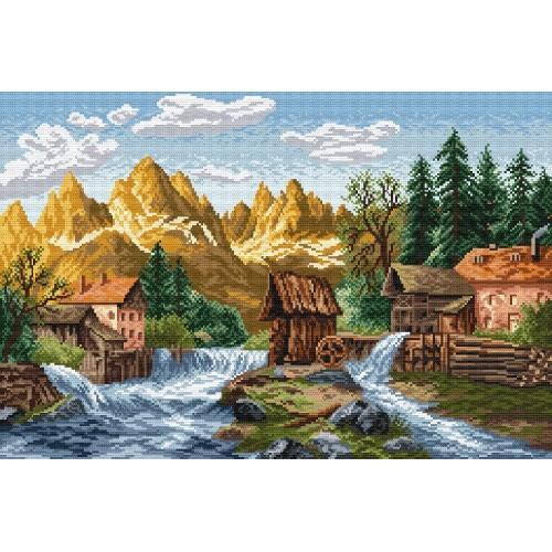 Kanwa z nadrukiem - Młyn nad rzeką