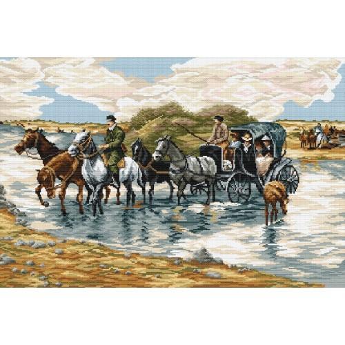 Kanwa z nadrukiem - A. Wierusz-Kowalski- Przeprawa przez rzekę