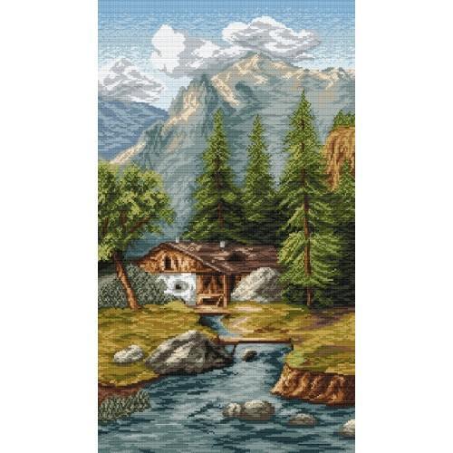 Kanwa z nadrukiem - Pejzaż górski