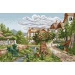 Kanwa z nadrukiem - Pejzaż górskiej wioski