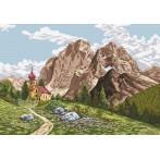 Kanwa z nadrukiem - Kosciół w Alpach