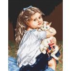 Kanwa z nadrukiem - Dziewczynka z kotkiem