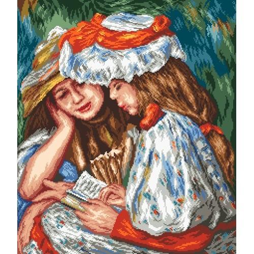 Kanwa z nadrukiem - Czytające dziewczynki