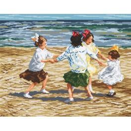Kanwa z nadrukiem - Dzieci bawiace się na plaży - E. Potthast