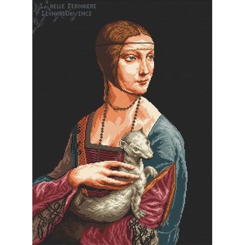 Kanwa z nadrukiem - Dama z łasiczką - L. da Vinci