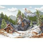 Kanwa z nadrukiem - Zamek w górach