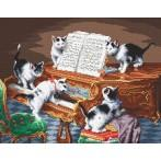 Kanwa z nadrukiem - Przy pianinie