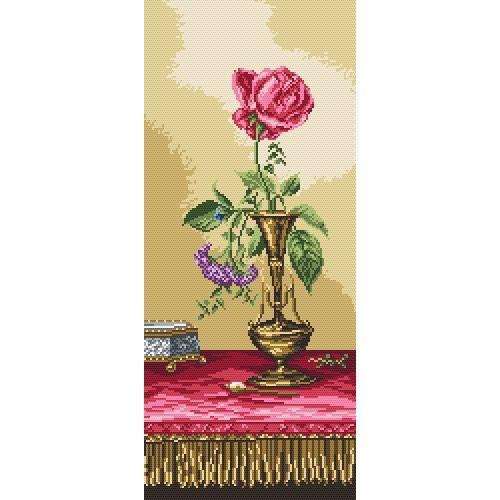 Kanwa z nadrukiem - Róża na komodzie