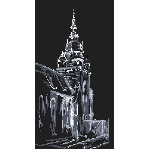 Kanwa z nadrukiem - Kościół nocą - K. Starowicz