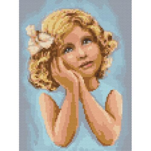 Kanwa z nadrukiem - Zamyślona dziewczynka