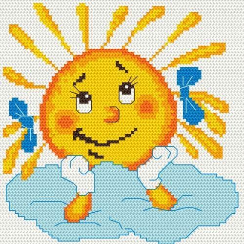 Kanwa z nadrukiem - Rozmarzone słoneczko