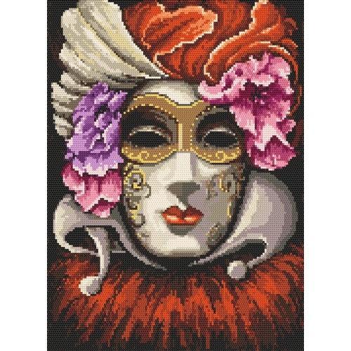 Kanwa z nadrukiem - Wenecka maska