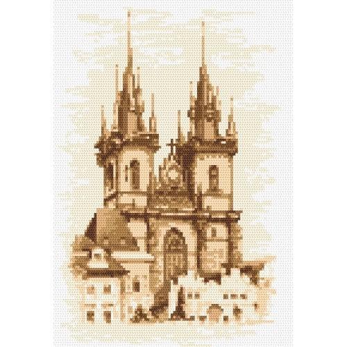 Kanwa z nadrukiem - Kościół Matki Boskiej - Praga