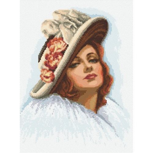 Kanwa z nadrukiem - Dama w kapeluszu